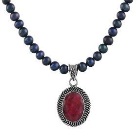 Colier unicat rubin, perle naturale negre si argint