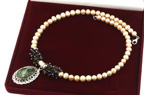 Colier unicat serafinit, granat, perle naturale si argint