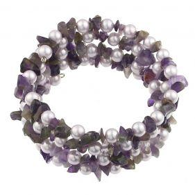 Bratara multisir din perle perle naturale lila si ametist