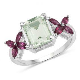 Inel din argint, ametist verde, rodolit si diamante albe