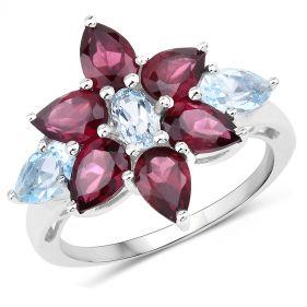 Inel din argint cu floare din rodolit si topaz albastru