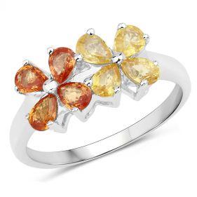 Inel din argint cu flori din safire lacrima