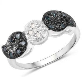 Inel din argint, diamante albe si diamante negre