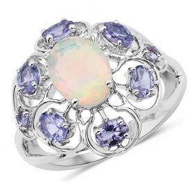 Inel din argint, opal etiopian si tanzanite