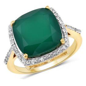 Inel din argint placat cu aur, onix verde si topaz alb