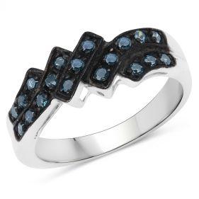 Inel din argint placat cu rodiu si diamante albastre
