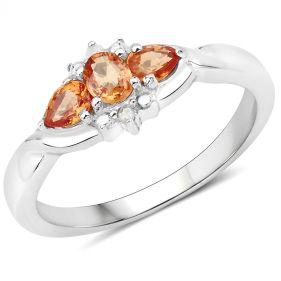 Inel din argint, safire portocalii si diamante albe