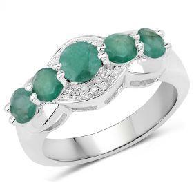 Inel din argint placat cu rodiu si smarald rotund