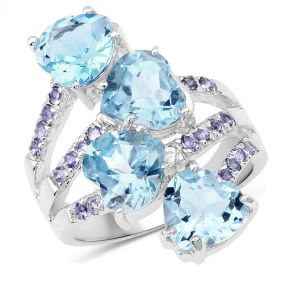Inel din argint si topaz albastru inima