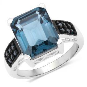 Inel din argint, topaz albastru si diamante albastre