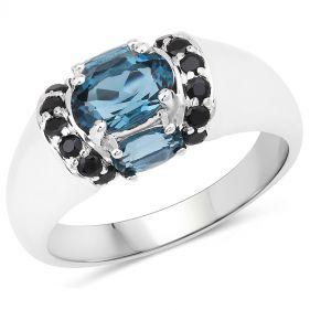 Inel din argint, topaz albastru si spinel negru
