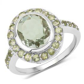 Inel supradimensional din argint, ametist verde si peridot