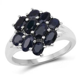 Inel din argint si floare din safir negru