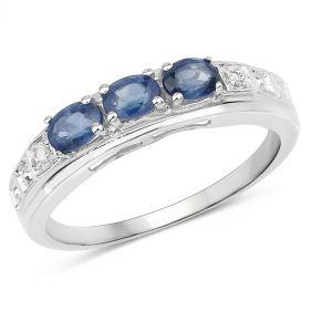 Inel din argint, safire albastre si diamant alb