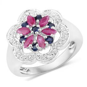 Inel floare din argint, rubin, safir si diamante