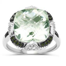 Inel exclusivist din argint, ametist verde si diamante