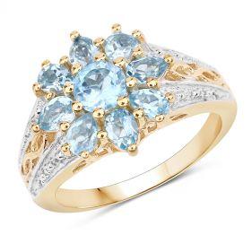 Inel din argint si floare din topaz albastru