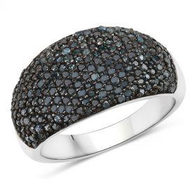 Inel exclusivist din argint si diamante albastre