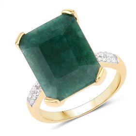 Inel supradimensionat din argint, smarald octagonal si topaz