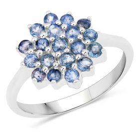 Inel floare din argint si safire albastre