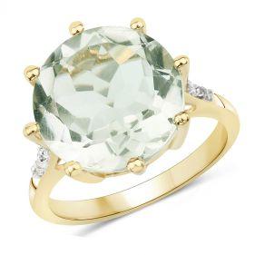 Inel supradimensionat din argint, ametist verde si topaz alb