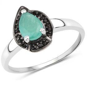 Inel din argint smarald si spinel negru