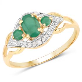 Inel din argint placat cu aur, smarald si diamante