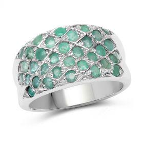 Inel din argint brodat cu smaralde
