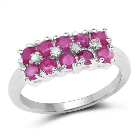 Inel din argint, rubine si diamante