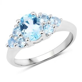 Inel din argint si topaz albastru