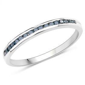 Inel din argint si diamante albastre