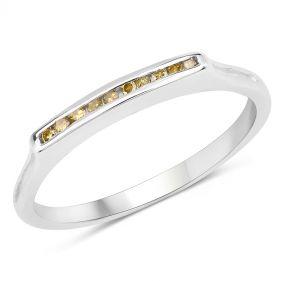 Inel din argint si diamante galbene