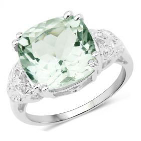 Inel din argint, ametist verde si diamante