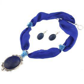 Set din lapis lazuli si matase naturala