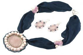 Set din cuart roz, perle de Mallorca si matase naturala