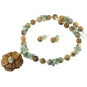 Set unicat floare agat crazy, amazonit si cristale Swarovski