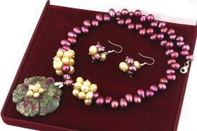 Set unicat floare rubin-zoisit si perle naturale