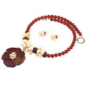 Set din floare jasp rosu, agat si perle naturale