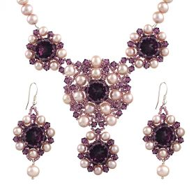 Set exclusivist din perle naturale si cristale Swarovski Amethyst