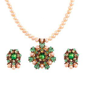 Set exclusivist din perle naturale si cristale Swarovski  Scarabaeus