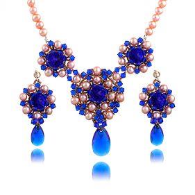 Set exclusivist din perle naturale si cristale Swarovski Majestic Blue