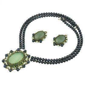 Set exclusivist din perle naturale, aventurin si cristale Swarovski