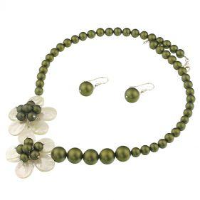 Set unicat din flori perle de Mallorca si sidef