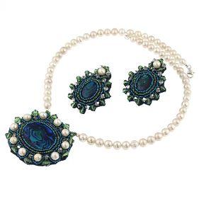 Set exclusivist din perle naturale, sidef Paua si cristale Swarovski