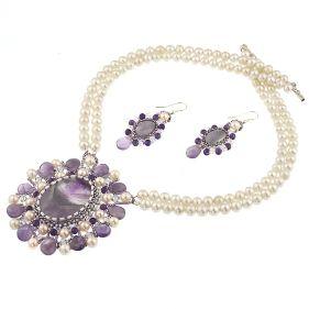Set exclusivist din perle naturale, ametist si cristale Swarovski