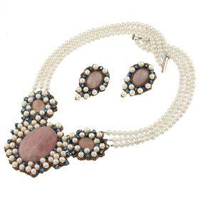 Set exclusivist din perle naturale, cuart roz si cristale Swarovski