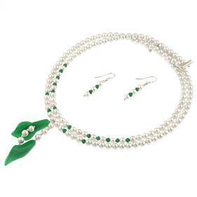 Set din perle de Mallorca si jad verde