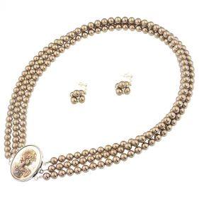 Set versatil din camee sidef si perle de Mallorca