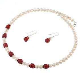 Set coral rosu, rhinestone si perle naturale