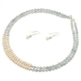 Set din perle naturale albe buton, acvamarin si argint
